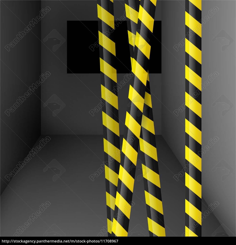 Dunkler Raum Mit Gefahrband Stockfoto 11708967 Bildagentur