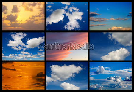collage of many images of sky