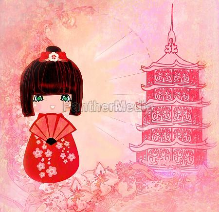kokeshi doll cartoon character beautiful abstract