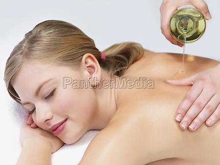 beautiful girl getting massage