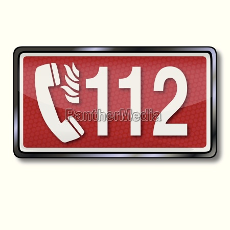 exit sign with emergency number 112