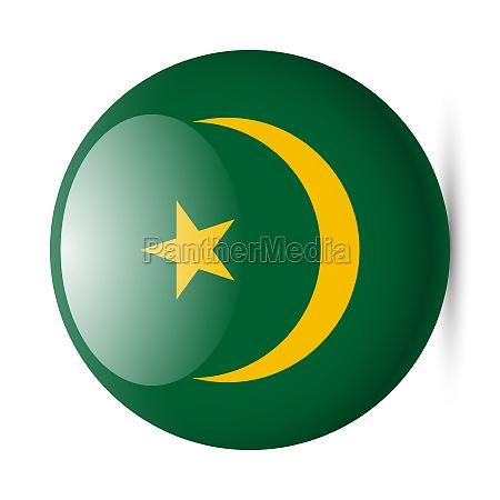 round glossy icon of mauritania