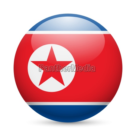 round glossy icon of north korea