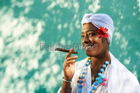 portrait of cuban black woman smoking