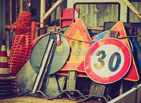 retro look roadworks signs