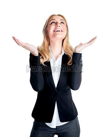 happy excited geschaeftsfrau