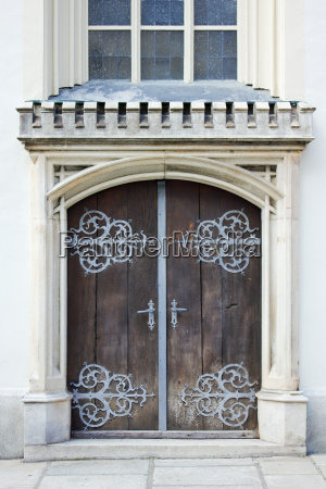 old gate door wooden fittings metal