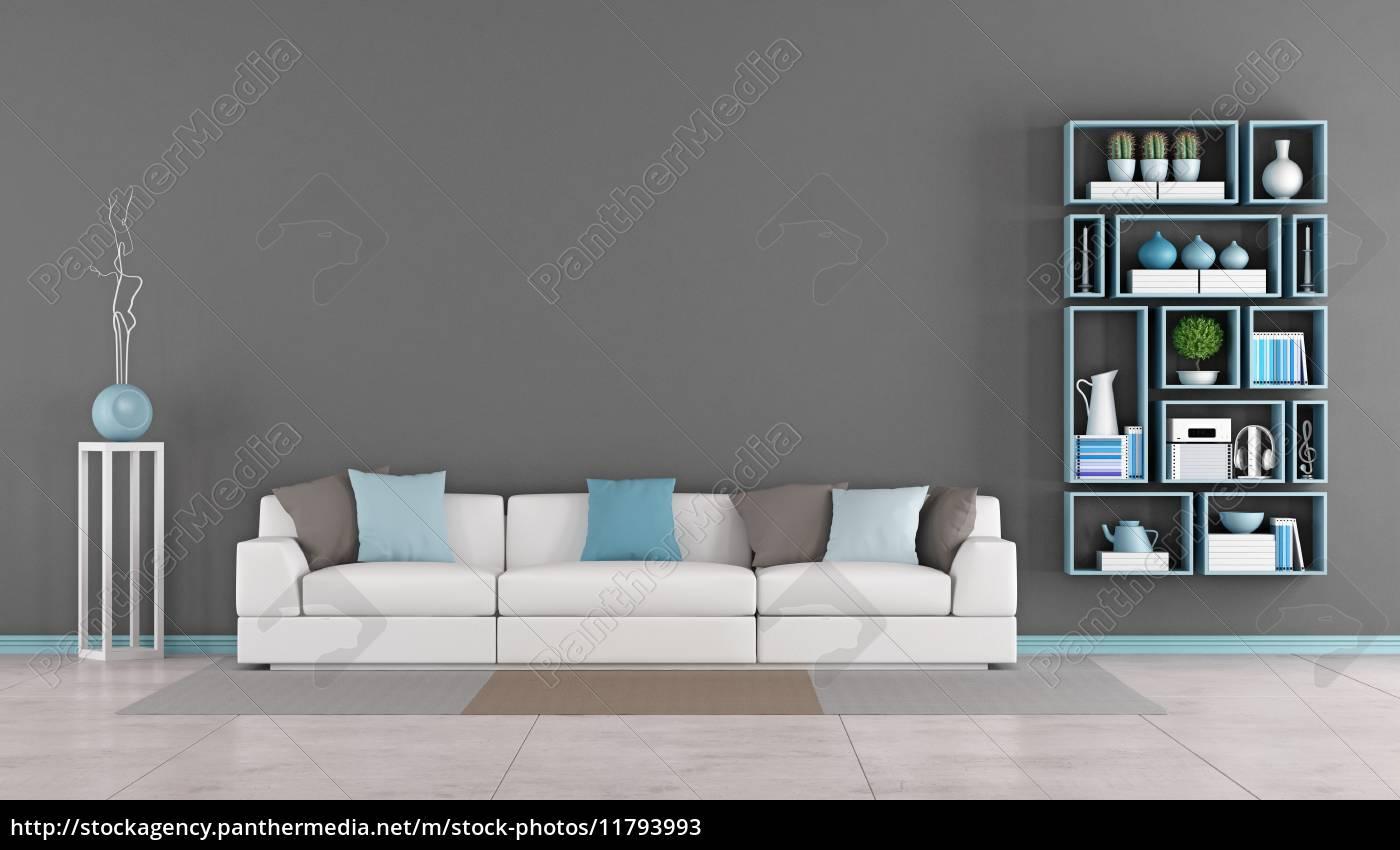 moderne wohnzimmer mit sofa und bücherregal - Stockfoto - #11793993 ...