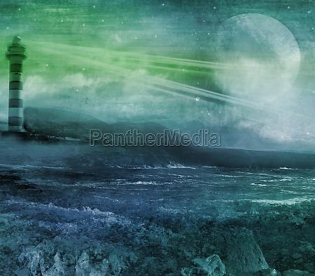 alter, leuchtturm, auf, einer, felseninsel, grunge, abstrakte - 11799955