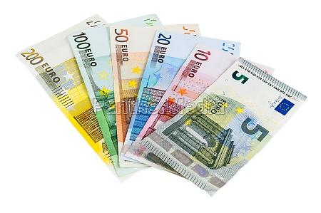 satz von euro banknoten