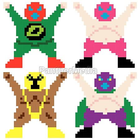 maskierten wrestler retro computer pixel kunst