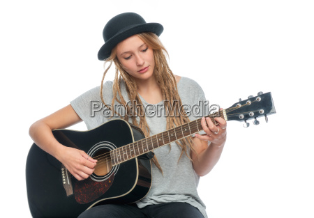 blond girl with hat and guitar