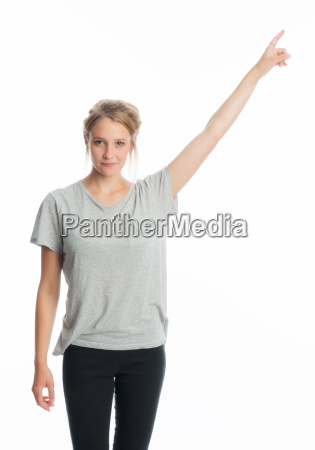 blonde girl shows a finger upwards
