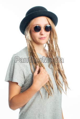 blond girl with hat and glasses