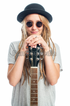 blonde girl with hat and guitar