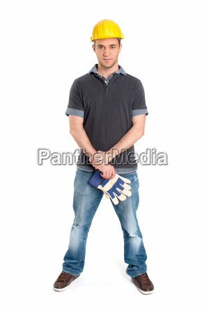 young man is wearing a safety