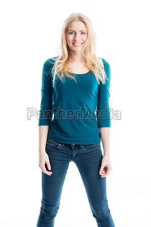 blond slim girl in jeans