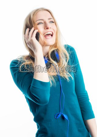 blond girl on the phone with