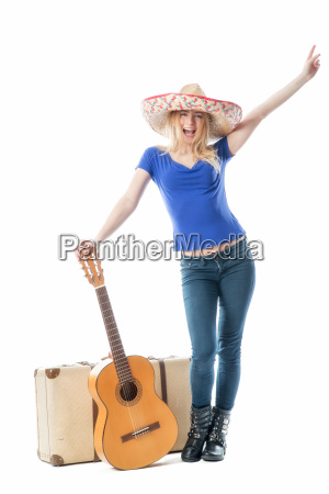 blondes, mädchen, mit, koffer, und, gitarre - 11816839