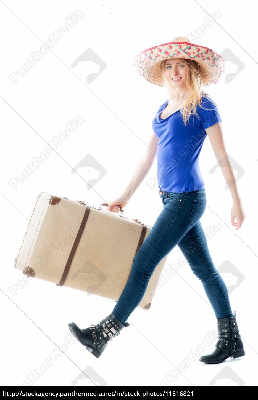 blondes, mädchen, mit, reisekoffer - 11816821