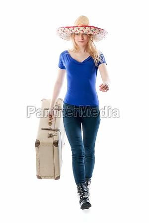 blondes, mädchen, mit, reisekoffer - 11816823