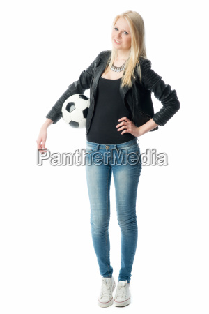 blond girl in leather jacket with