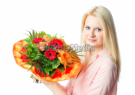 blonde girl with bouquet