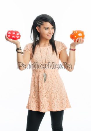 young girl with piggy banks