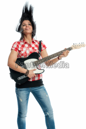black haired girl with electric guitar