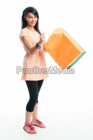 young girl on a shopping trip