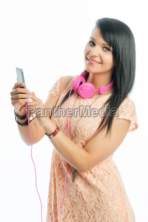 girl with headphones and smartphone