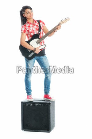 wild girl with electric guitar