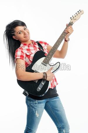 wildes maedchen mit e gitarre