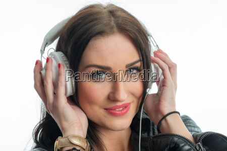 woman face with headphones