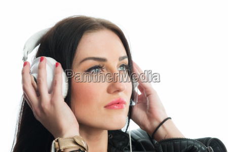 womens face with headphones