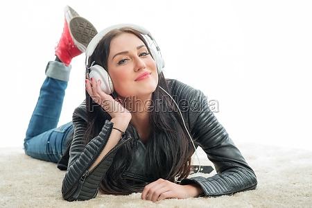 woman enjoy headset earphones headphones racy