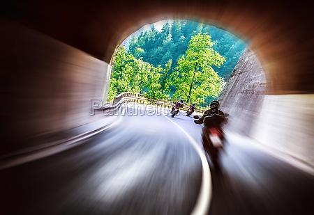 bikers tour along europe