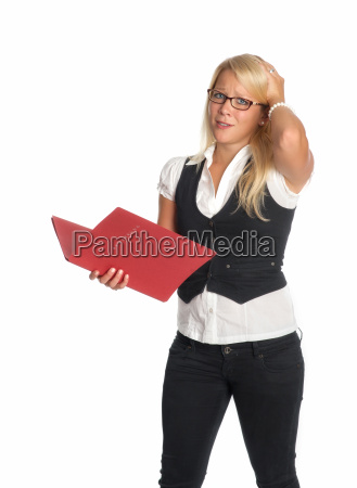 blonde woman with application portfolio