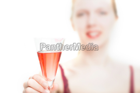 blonde girl with glass of sparkling