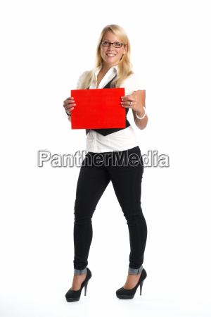 blonde woman holding advertising sign