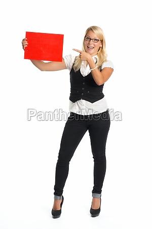 blonde, frau, hält, werbeschild, - 11818873
