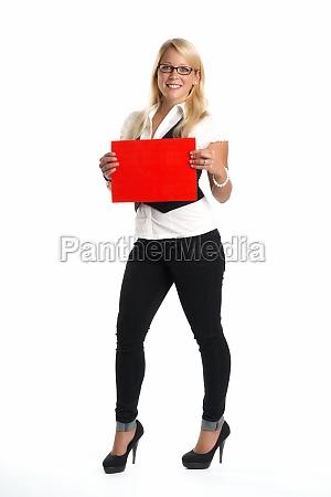 blonde, frau, hält, werbeschild, - 11818885