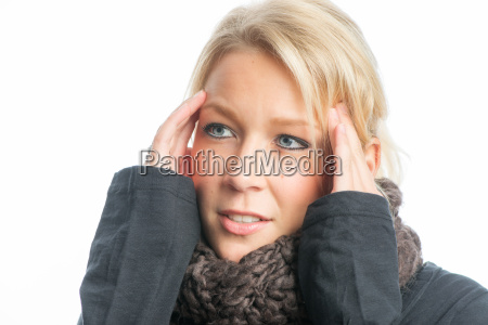 blonde woman with headache