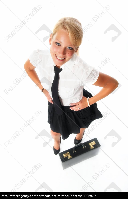 erfolgreiche, geschäftsfrau, mit, aktenkoffer - 11819457