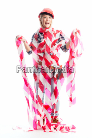 woman wrapped with cordon tape