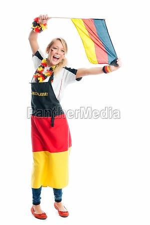 blond female soccer fan