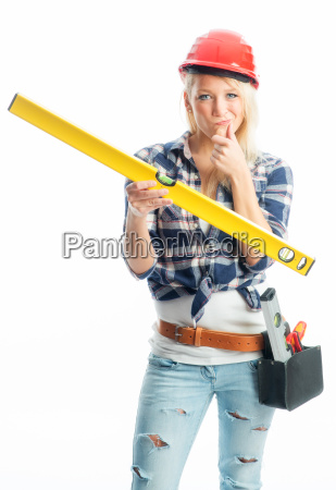 blonde woman with spirit level