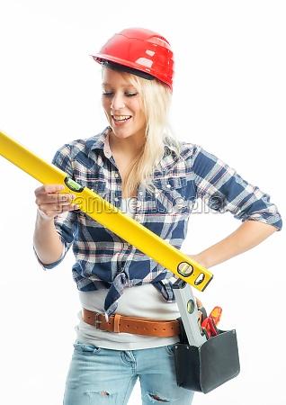 woman helmet spirit level building industry