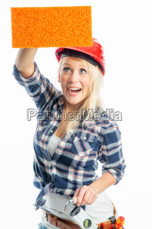 woman present presentation sponge advertising space