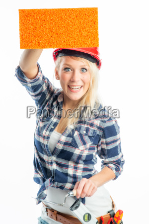female artisan with sponge as advertising